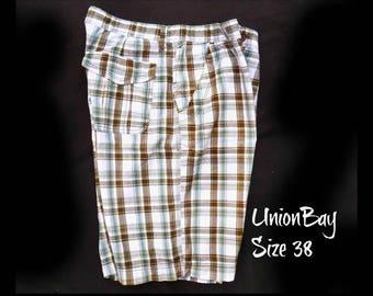 men's plaid Bermuda shorts, men's summer cotton shorts, men's  white grey blue plaid shorts , size -38 shorts, # 15