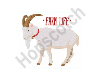 Farm Life - Machine Embroidery Design- 4 X 4 Hoop, Goat, Billy Goat, Farmer