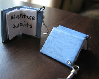 Mini books | miniature earrings | book lover | adventure quote | bookworm gifts