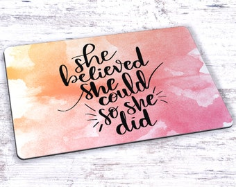 She Believed She Could So She Did Watercolor Hand Lettering Mousepad - 7.75 x 9.25