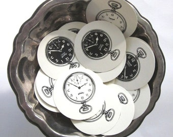 Pocket Watch Tags Round Paper Gift Tags Set of 10