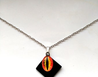 Sauron Eye Black Square Pendant, Orange& Black Eye of Sauron Statement Necklace, Silver Plated Chain- Deliver us from evil by enchantedbeas