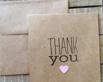 Heart Thank you notes set