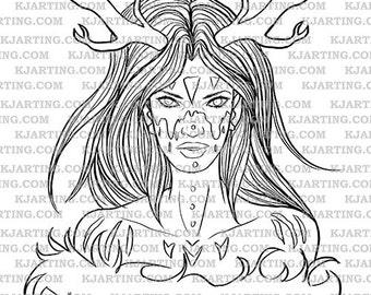 Druid Nature Antlers Dryad Mystic Shaman Fur Warpaint Facepaint Digital Stamp (Line_Art Printable_00021 KJArting)