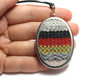 Hand Woven Striped Pendant Necklace | Modern Handwoven Jewelry | Best Friend Gifts | Weaving Loom | Bohemian Summer Statement Necklace | A24