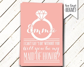 Bridesmaid Proposal - Will You be My Bridesmaid / Maid of Honor - Digital Download - Wedding Stationary - Printable Wedding - Custom Color
