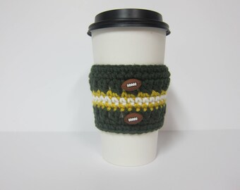 Football Cup Cozy, Coffee Cup Cozy, Cozy for Football Fan, Sports Team Cozy, Cozy for Sports Fan, Green and Gold Cozy, Football Coffee Cozy