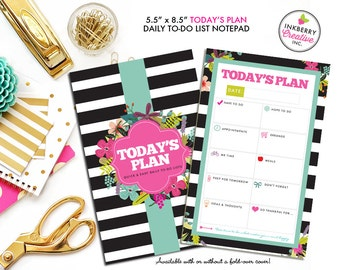 To Do List Notepad - Today's Plan - Premium Daily Planner Notepad - Black and White Stripe Floral - Available in 2 Sizes!