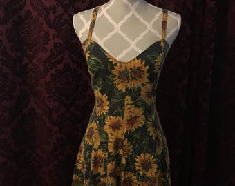 Vintage sunflower romper dress