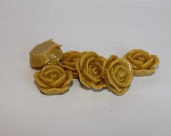 Muted Mustard PETAL ROSE Cabochons - 20mm - Set of 10