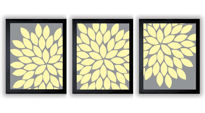 INSTANT DOWNLOAD Grey Gray Yellow Chrysanthemum Set of 3 Art