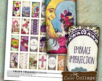 Whimsical Digital Collage Sheet, Domino Images, 1x2 Collage Sheet, Whimsy Domino Images, for Pendants, Bezel Settings, Wood Tiles, Decoupage