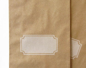 """50 Kraft Paper Bags 5"""" x 7.5"""",  with White Gift Tag Design for Personalizing"""