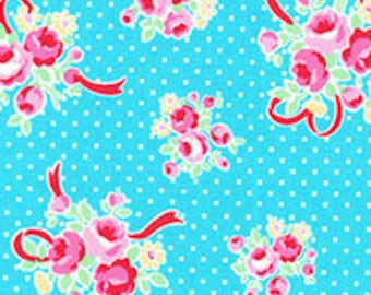 Clearance FABRIC FLOWER and SUGAR Sweet Carnival by Lecien Aqua Smaller Rose Bouquet with Polka Dots