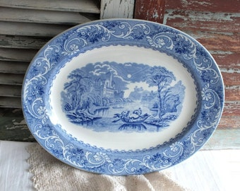 Blue Transferware English Victorian Platter by avintageobsession on etsy