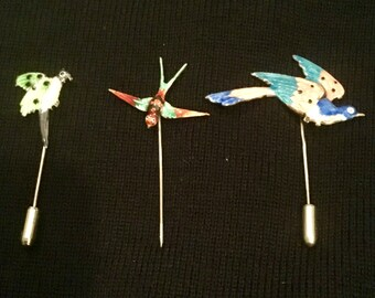 Lot of three vintage Mitzpah enamel Sterling silver bird hat pins / stick pins