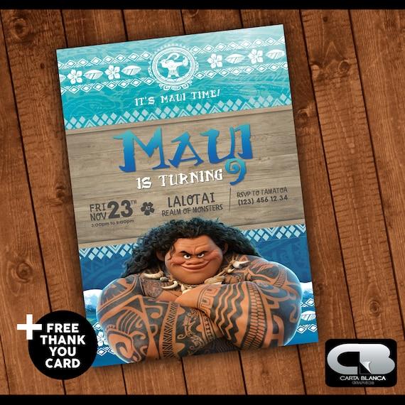 Maui Invitation with Free Thank You Card Maui Invite Moana