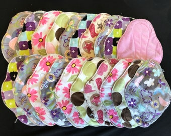 20-pack cloth pad making kit, unfinished, regular length heavy flow, colors/patterns will vary