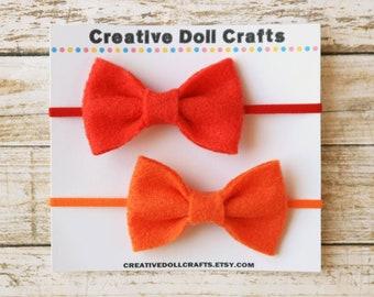 Doll Headband, Doll Hair Bow, Doll Hair Accessory, Red Doll Bow, Orange Doll Bow, Doll Bow, AG Doll Bow, 18 Inch Doll, Felt Doll Bow