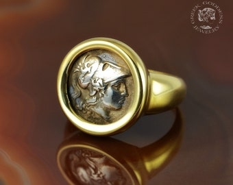 ancient greek coin silver golden ring, Athena ring, ancient coin, greek ring, greek jewelry, coin ring, goddess jewelry, antique ring
