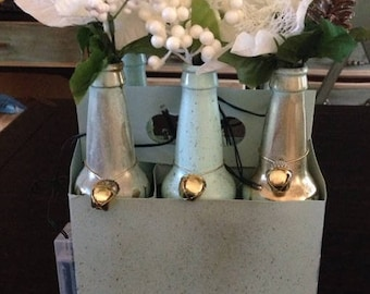 6 Pack French Blue and Gold Slagged Flower bottles with battery lights and bells...Beautiful for Xmas!