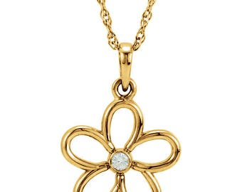 Sterling Silver Flower Necklace - Gold Plated