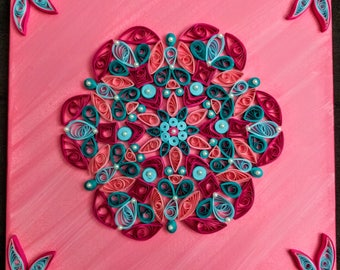 Quilled mandala, Paper art, Home wall decoration,Mandala wall art,Paper ornament, quilling on canvas.
