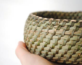 Set of 2 natural baskets planter wild basketry - unique traditional crafts France rushes and Brambles wild-15/16 x 5 / 6cm