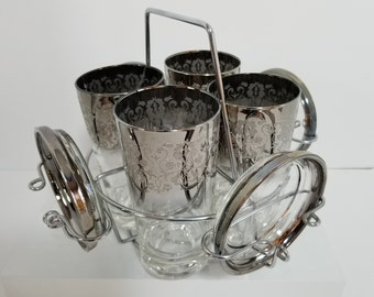 Midcentury Modern / Vintage Set of 4 Dorothy Thorpe Embossed Filigree Silver Rimmed Glasses with Coasters and Caddy