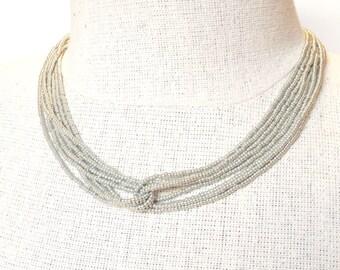 Silver necklace, gray necklace, beaded necklace, wedding necklace,seed bead necklace, bridesmaid gifts,boho necklace,bridesmaid necklace