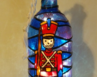 Nutcracker Bottle Lamp Stained Glass look handpainted