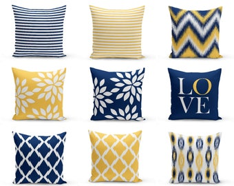Outdoor Pillows, Navy Yellow White , Outdoor Home Decor, Outdoor Throw Pillows