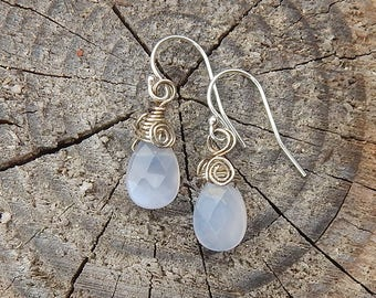 Translucent White Chalcedony Faceted Gemstone Briolette Earrings with Sterling Silver Spirals - Milky White Quartz Gemstone Teardrop Dangles
