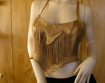 """Leather halter,size mediium, 10"""" at thelongest point, golden honey lambskin with natural edge, fringe & crisscross back ties"""