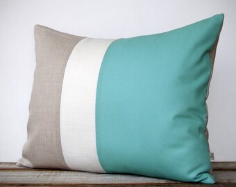 As seen in Good Housekeeping Magazine: Color Block Pillow in Mint, Cream and Natural Linen by JillianReneDecor (16x20) Costal Home Decor