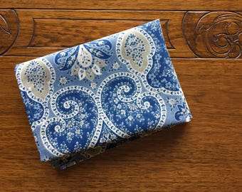 Blue and Tan Print  Kitchen Towel