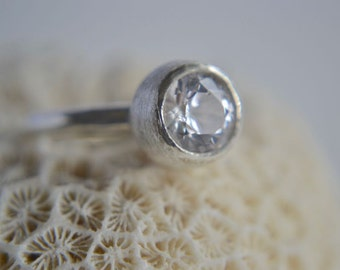 sterling silver seed pod 8mm white sapphire ring