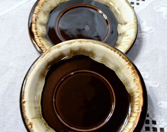 Retro Pfaltzgraff Brown Drip Glaze Saucer Set of 2 Replacement PanchosPorch