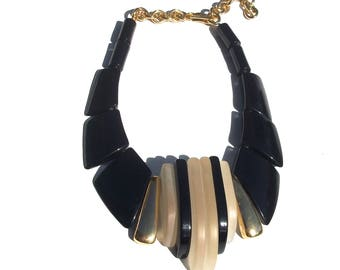 Deco Inspired Necklace   black and gold beaded 70s vintage gold chain avant garde statement necklace unique gift present