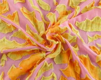 Pink/Yellow/Orange Novelty Knit, Fabric By The Yard