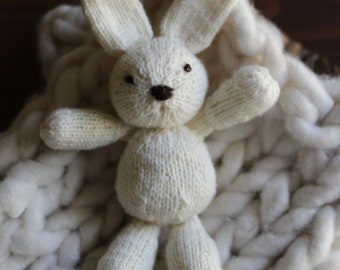Knitted Bunny Newborn Photo Prop- MADE TO ORDER