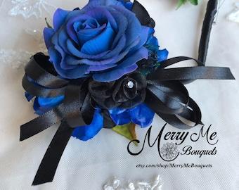 Royal Blue Corsage Set - Blue Boutonniere Set - Blue Corsage - Blue Wrist Corsage - Black and Blue Corsage - Black and Blue Boutonniere