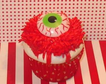 Ghoulishly Creepy Bloodshot Eyeball Cupcake Ring Toppers  (12)
