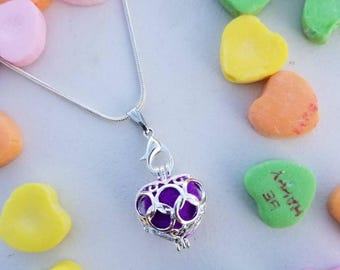 Heart shaped diffuser locket for essential oils young living aromatherapy gift for her perfect for Valentine's day!