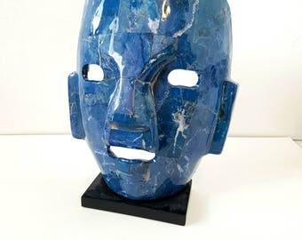 Mask, Lapis Lazuli Stone Mask, Sculpture, Art, Home Decor, Gemstone, Artifact
