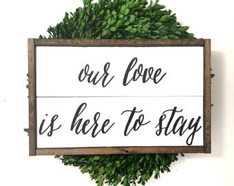 Our Love Is Here To Stay Handcrafted Wooden Sign