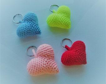 Valentine's Day keychain, bright and colourful love heart keychain, keychain crochet, crochet heart, cute keychain, amigurumi  keychain,