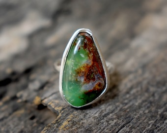 Chrysoprase 925 Solid sterling silver Ring - Silver gemstone Handmade Ring - chrysoprase ring #816