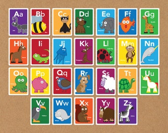 Animal ABC Flash Cards, Animal Alphabet Cards, Nursery or Toddler Wall Art, Toddler Learning, Educational Toy, Gift for Kids, Baby Gift