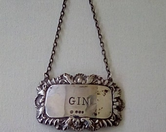 Vintage Sterling Silver Spirit Label Gin Decanter Label Francis Howard Sheffield Silver